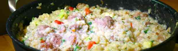 Risotto with spicy sausage