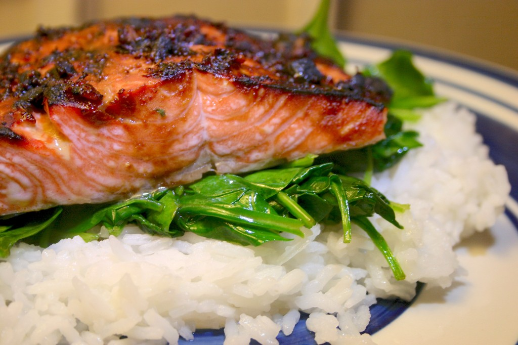 Miso Glazed Salmon with Wilted Spinach ← eatsbykathy