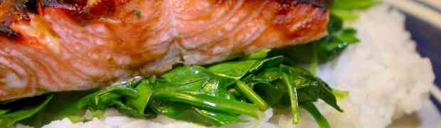 Miso Glazed Salmon with Wilted Spinach