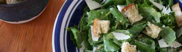 Caesar salad with anchovy croutons